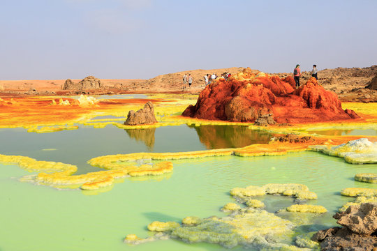 Out-this-planet view to Dallol volcano crater at Danakil Depression and sulfur, salt, potassium, calcium and ferrum mineral fields in hottest place on Earth