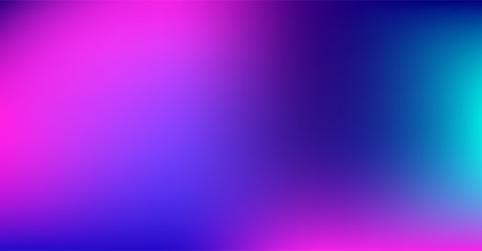 Purple Blue Gradient Vibrant Dreamy Vector Background. Sunrise, Sunset, Sky, Water Color Overlay Neon Design Element. Luxury Trendy Holograph Defocused Texture. Digital Funky Cool Tech Gradient Paper.