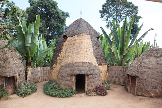 Traditional elephant-shaped huts made of wood and straws in Dorze Village, Ethiopia.