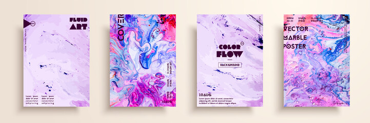Fototapete - Covers with acrylic liquid textures. Colorful abstract composition. Modern artwork. Creative fluid colors backgrounds. Applicable for design placard, flyer, poster.