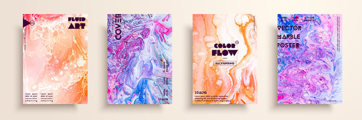 Covers with acrylic liquid textures. Colorful abstract composition. Modern artwork. Creative fluid colors backgrounds. Applicable for design placard, flyer, poster.