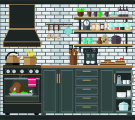 Modern cozy kitchen with gas stove, hood and kitchen furniture on a brick wall background. Vector illustration.