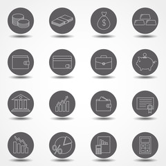 Simple Set of Money Related Vector Line Icons. Contains such Icons as Wallet, ATM, Bundle of Money, Coin and more.
