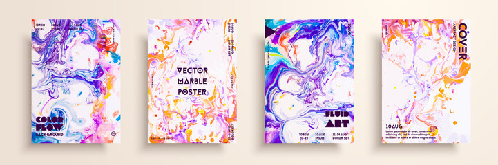 Artistic textures for digital design. Fluid colors backgrounds. Set of vector cards for brand identities, invitation designs, packaging, labels, business cards, and interactive web backgrounds.