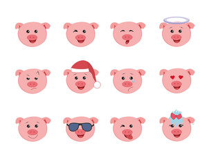 Set of Graphic Emoticons - pigs. Collection of Emoji. Smile icons. Vector illustration on white background