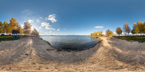 full seamless spherical panorama 360 degrees angle view on the shore of width river neman in sunny summer day. 360 panorama in equirectangular projection, ready VR AR virtual reality content