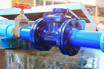 Water Meters  plumbing joint steel tap have repair pipe close up