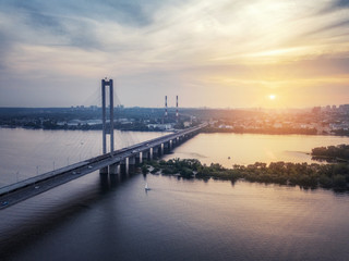 arial drone view of bridge on sunset (sunrise)