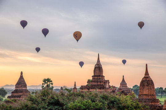 Pagoda and Balloon in Bagan, Myanmar