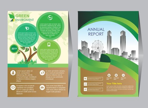 Green ecology design on background.Brochure template layout,cover design,annual report,magazine,leaflet,presentation background,flyer design.and booklet in A4 with Vector Illustration