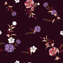 Trendy  Floral pattern in the many kind of flowers. Tropical botanical  Motifs scattered random.