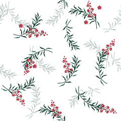 Beautiful vector green leaves and berries pattern, hellebore flowers,