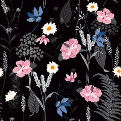 Beatiful seamless botanical flowers pattern with different plants