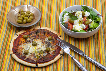 pitted olives margarita pizza with olives and cottage cheese with olives and tomatoes fresh green salad