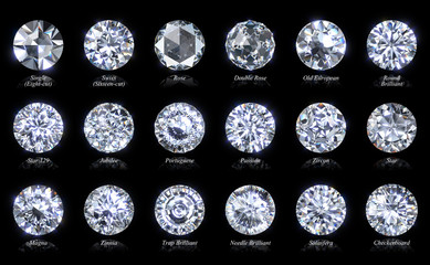 Eighteen diamond cut varieties of round shape with titles isolated on black background. 3D illustration