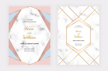 Wedding invitation cards with pink, blue geometric design, golden lines, foil and marble texture. Background for celebration, flyer, social media, banner, poster