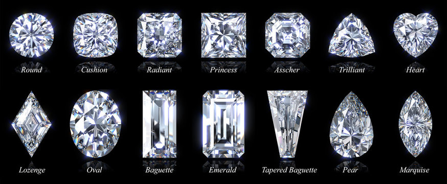 Fourteen popular diamond shapes with titles isolated on black background. 3D illustration