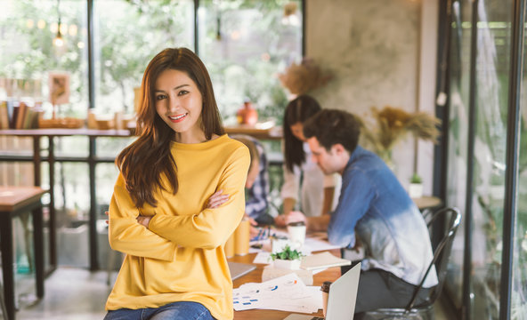 Portrait of asian female creativity working team coworking office ,Smiling of happy beautiful woman in modern office