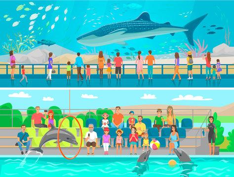 Huge oceanic aquarium and dolphinarium sketch