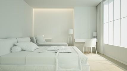 bedroom space interior 3d rendering in hotel