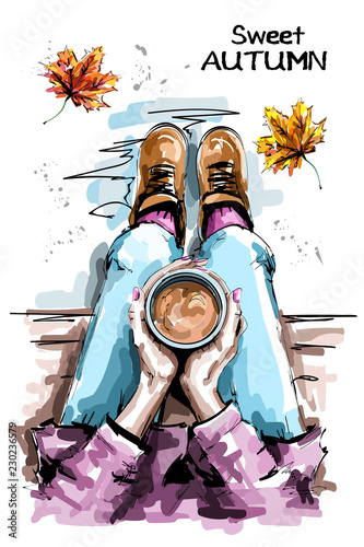 9b3474174f1 Hand drawn woman sitting and holding coffee cup. Stylish set with woman  body, coffee