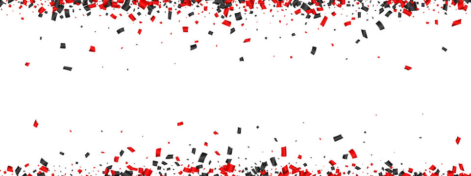 White festive banner with red and black paper confetti.