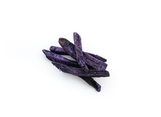 Sweet stick purple potato fire on isolated white background