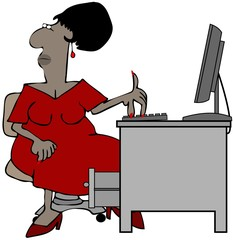 Illustration of a black female office worker sitting at a desk with a computer.