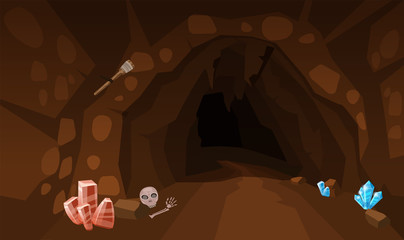 Treasure cave with crystals. Concept, art for computer game. Background image to use games, apps, banners, graphics. Vector cartoon illustration