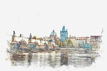 Watercolor sketch or illustration of a beautiful view of the ancient architecture of Prague and the Charles Bridge over the Vltava River.