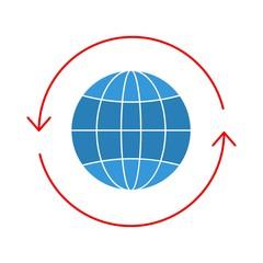 globe  flat multi color icon