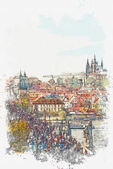 Watercolor sketch or illustration of a beautiful view of the ancient architecture of Prague and the Charles Bridge over the Vltava River. Tourists and locals walk along the bridge. Popular city