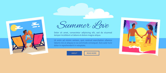 Summer Love Photos near Text Vector Illustration