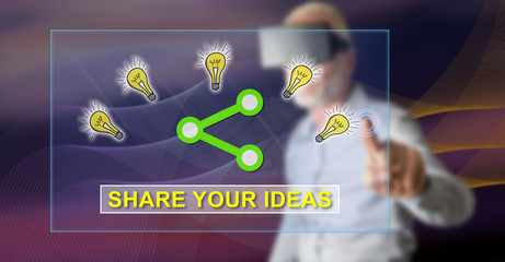 Man touching an ideas sharing concept