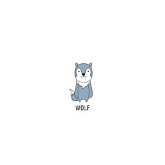 Cute wolf character icon, vector illustration