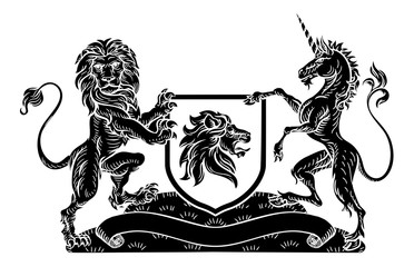 A medieval heraldic coat of arms emblem featuring rampant guardant lion and unicorn animal supporters flanking a shield charge in a vintage woodblock style.