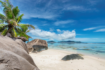 Exotic beach with beautiful rocks Anse Source d'Argent beach, La Digue Island, Seychelles