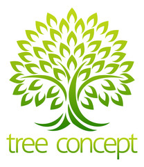 Tree icon concept of a stylised tree with leaves, lends itself to being used with text