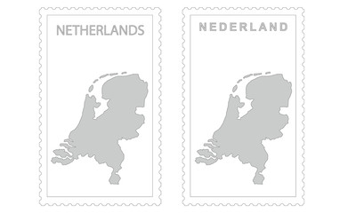 Netherlands map on the postage stamp vector