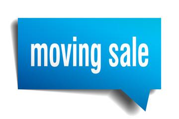 moving sale blue 3d speech bubble