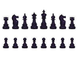 Vector Set of Cartoon Black Chess Pieces.