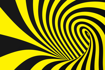 Black and yellow spiral tunnel from police ribbons. Striped twisted hypnotic optical illusion. Warning safety background.