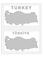 Turkey map on the postage stamp vector