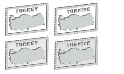 Turkey 3d map on the postage stamp vector