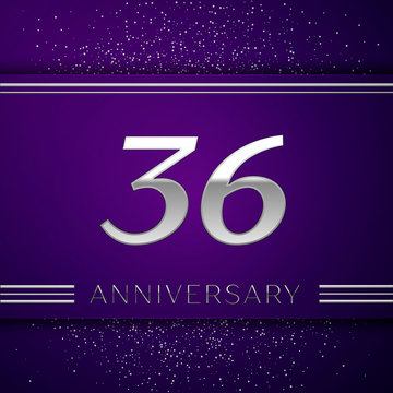Realistic Thirty six Years Anniversary Celebration design banner. Silver number and confetti on purple background. Colorful Vector template elements for your birthday party