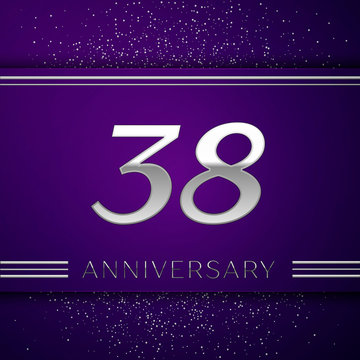 Realistic Thirty eight Years Anniversary Celebration design banner. Silver number and confetti on purple background. Colorful Vector template elements for your birthday party