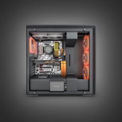 Open computer with red lighting effects and water cooled cooling system on black gradient background 3d render
