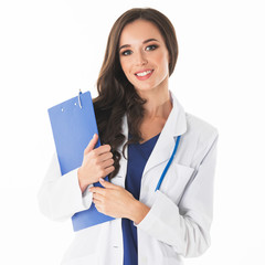 Smiling female doctor with a folder