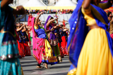 Dancers perform a mass Ghoomar dance during Diwali celebrations in Trafalgar Square, London