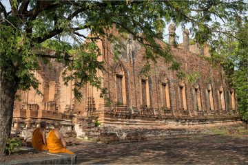 タイ・アユタヤ・世界遺産・遺跡・仏陀・僧侶